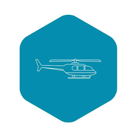 Military helicopter icon. Outline illustration of helicopter vector icon for web