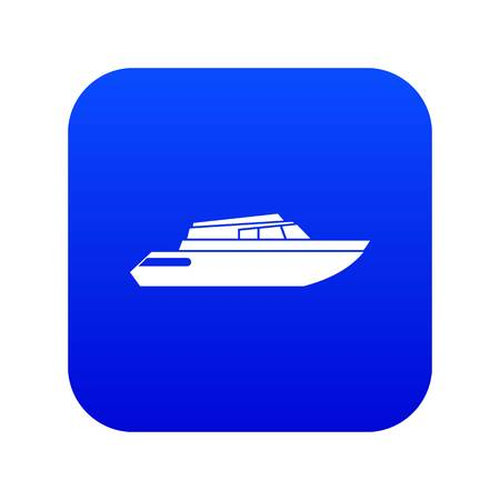 Planing powerboat icon digital blue for any design isolated on white vector illustration Stock Illustratie