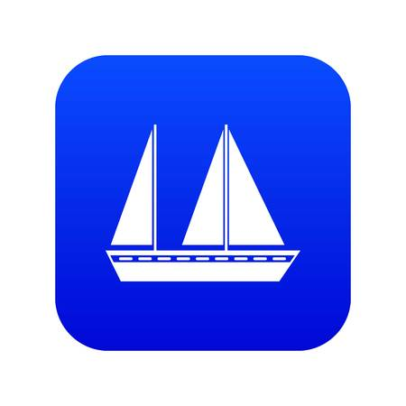 Sailing boat icon digital blue for any design isolated on white vector illustration Illustration