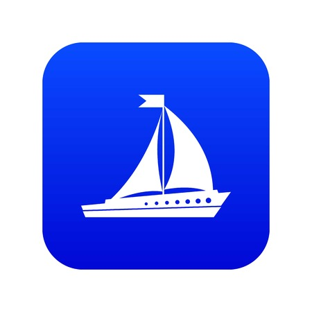 Sailing ship icon digital blue for any design isolated on white vector illustration