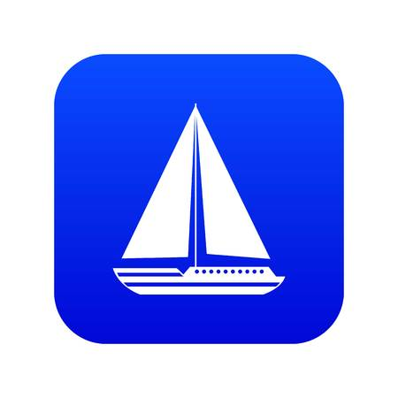 Sea yacht icon digital blue for any design isolated on white vector illustration