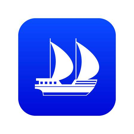 Big yacht icon digital blue for any design isolated on white vector illustration Illustration
