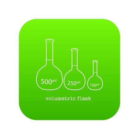 volumetric flask icon green vector isolated on white background