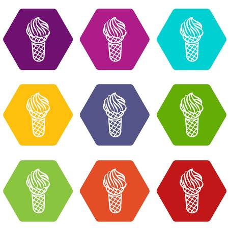 Ice cream in waffle cone icons 9 set coloful isolated on white for web