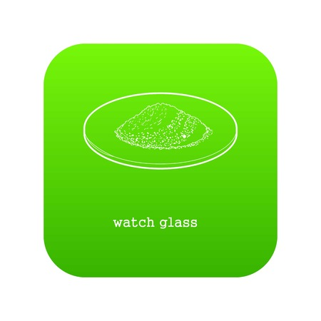 Watch glass icon green vector isolated on white background Иллюстрация