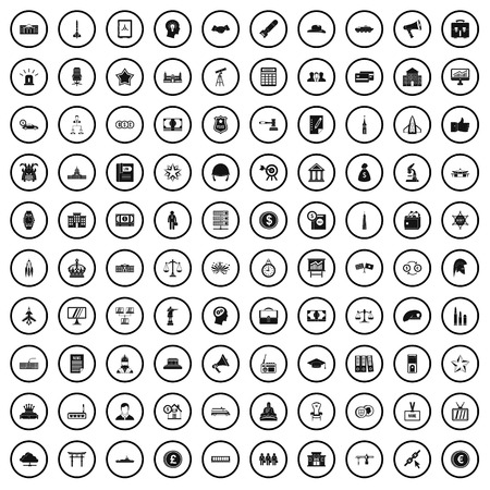 100 government icons set in simple style for any design vector illustration Archivio Fotografico - 125026464
