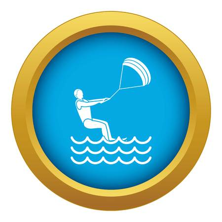 Man takes part at kitesurfing icon blue vector isolated on white background for any design