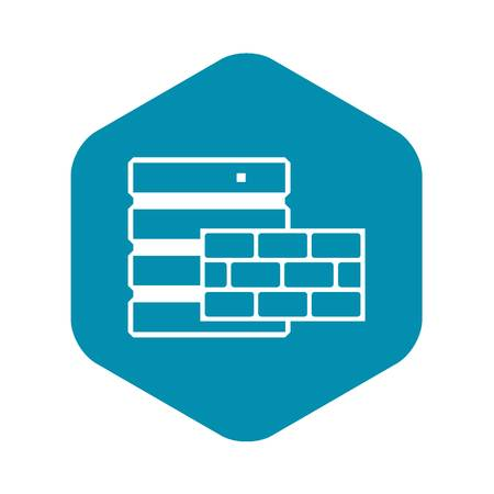 Database and brick wall icon in simple style isolated on white background