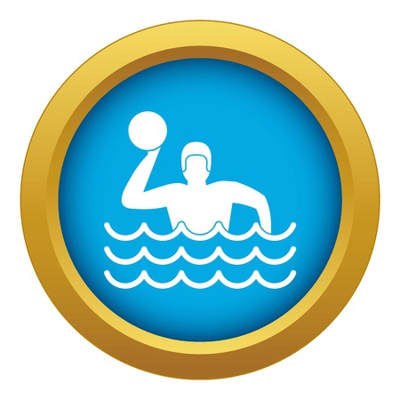 Water polo icon blue vector isolated on white background for any design Illustration