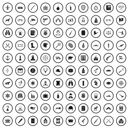 100 guns icons set in simple style for any design vector illustration