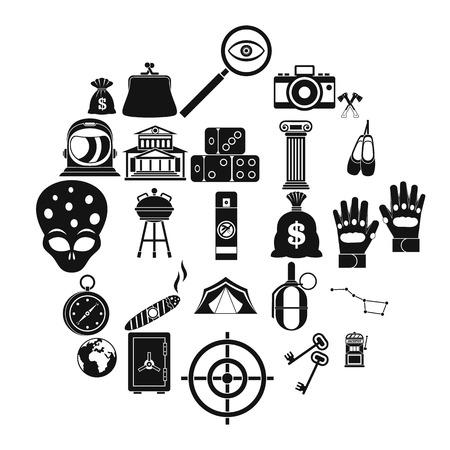 Big money icons set, simple style