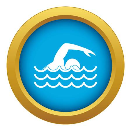 Swimmer icon blue vector isolated on white background for any design Ilustración de vector