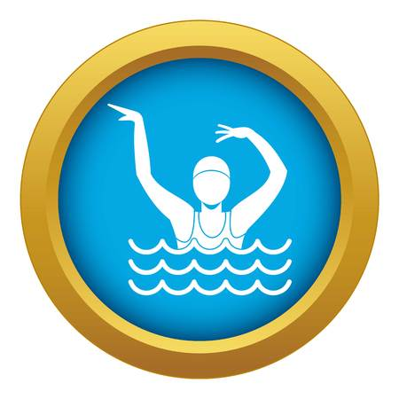 Swimmer in a swimming pool icon blue vector isolated on white background for any design