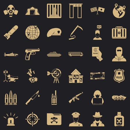 Antiterrorism icons set, simple style