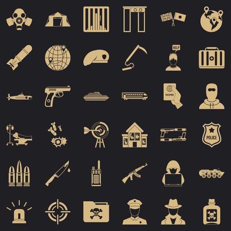 Antiterrorism icons set, simple style