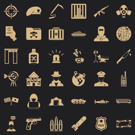 Antiterrorist help icons set, simple style Illustration