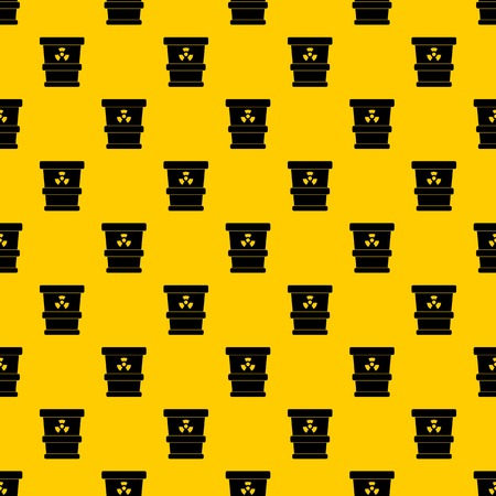 Trashcan containing radioactive waste pattern seamless vector repeat geometric yellow for any design