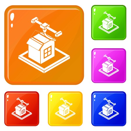 House d printing icons set collection vector 6 color isolated on white background