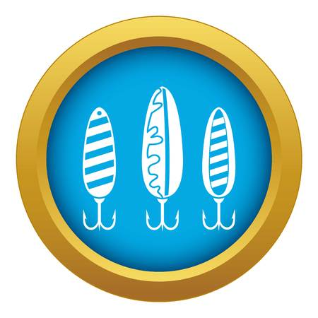 Plastic fishing lure icon blue vector isolated on white background for any design Illustration