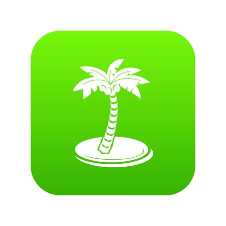 Palm tree with coconuts icon green vector Ilustrace