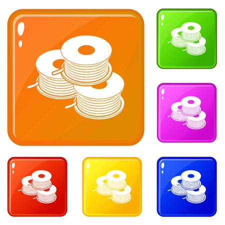 Coil for d printer icons set vector color