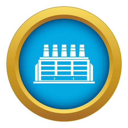 Manufacturing factory building icon blue vector isolated on white background for any design