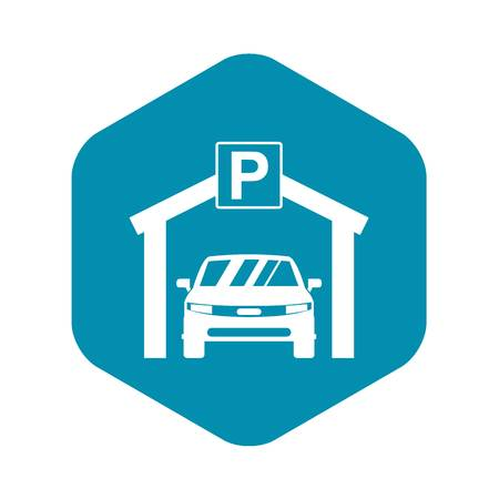 Car parking icon in simple style isolated on white background