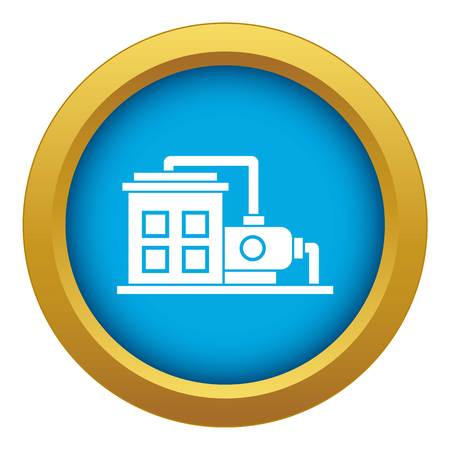 Factory building icon blue vector isolated on white background for any design Illustration