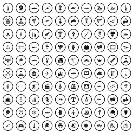 100 hero icons set, simple style