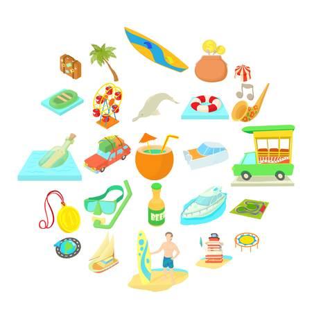 Adventure icons set. Cartoon set of 25 adventure icons for web isolated on white background