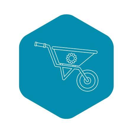 Gardening wheelbarrow icon. Outline illustration of wheelbarrow vector icon for web