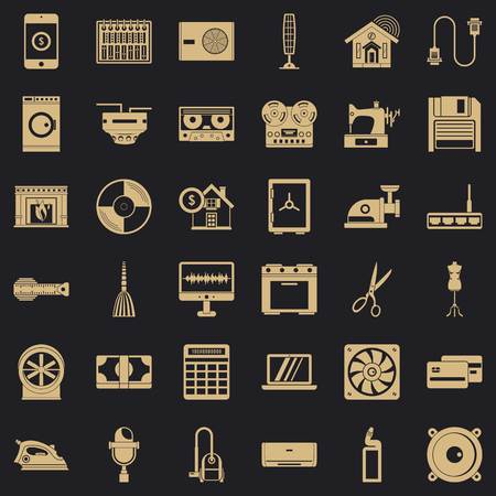 Home appliance icons set, simple style