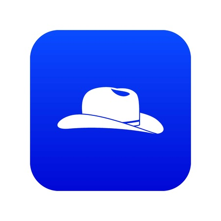 Cowboy hat icon digital blue for any design isolated on white vector illustration Illustration