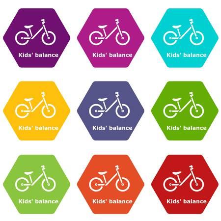 Kids balance bike icons 9 set coloful isolated on white for web Archivio Fotografico - 125026738