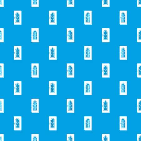 Arched glass door pattern vector seamless blue
