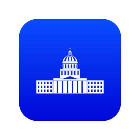 Capitol icon digital blue for any design isolated on white vector illustration