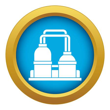 Oil processing factory icon blue vector isolated on white background for any design Illustration