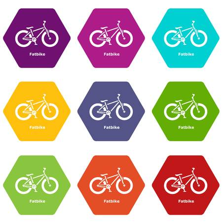 Fatbike icons set 9 vector