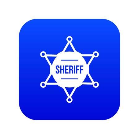Sheriff badge icon digital blue for any design isolated on white vector illustration Illustration