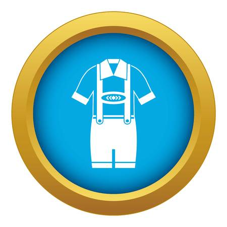 T-shirt and pants with suspenders icon blue vector isolated on white background for any design