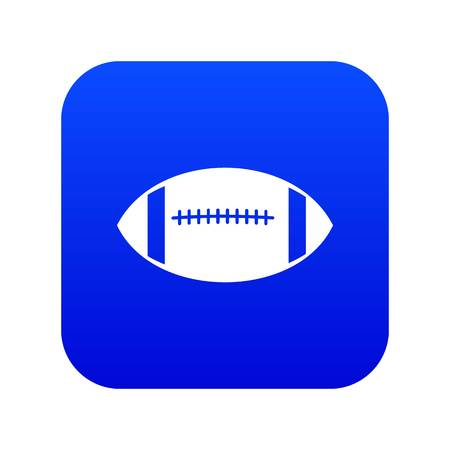 Rugby ball icon digital blue for any design isolated on white vector illustration