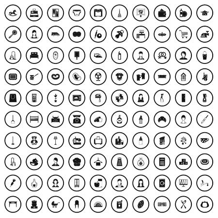 100 housewife icons set in simple style for any design vector illustration Banque d'images - 125026835