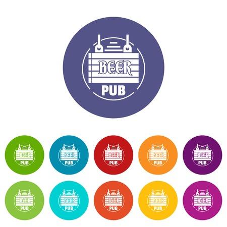 Wood board beer pub icons set vector color