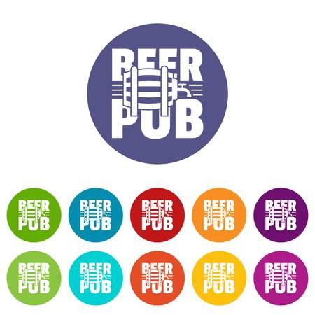 Beer pub icons set vector color