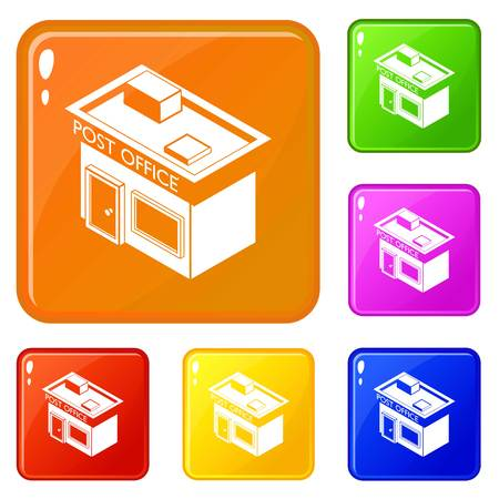Post office icons set vector color Çizim