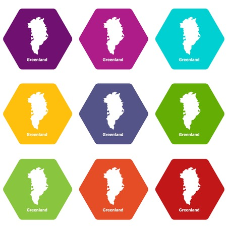 Greenland map icons set 9 vector Vectores