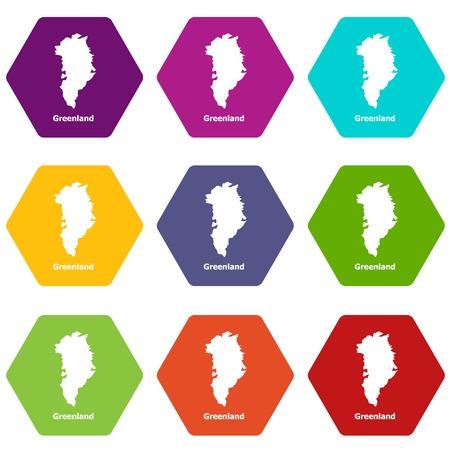 Greenland map icons set 9 vector Illustration