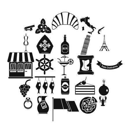 Alcohol icons set, simple style  イラスト・ベクター素材