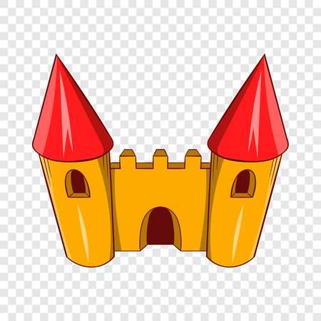 Fairy tale castle icon, cartoon style Illustration