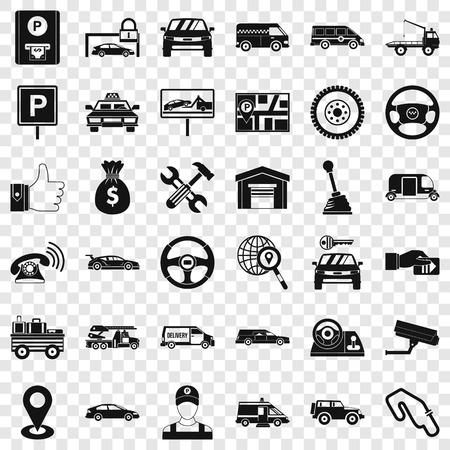 Auto icons set, simple style